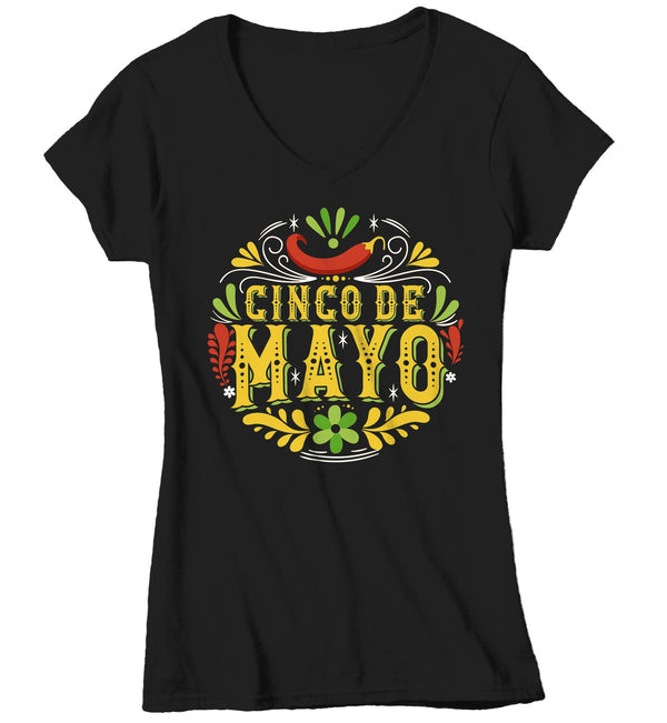Women's V-Neck Cinco De Mayo T Shirt Cinco De Mayo Artistic Shirt Hipster Shirt Cute Cinco De Mayo Shirt-Shirts By Sarah