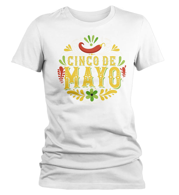 Women's Cinco De Mayo T Shirt Cinco De Mayo Artistic Shirt Hipster Shirt Cute Cinco De Mayo Shirt-Shirts By Sarah