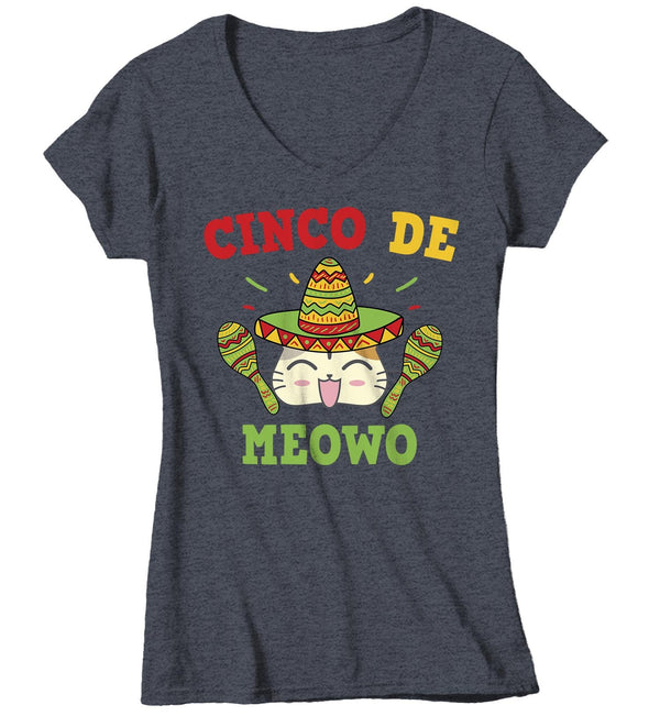 Women's V-Neck Cinco De Mayo T Shirt Cinco De Meowo Shirt Funny Cinco De Mayo Cat Shirt Meowo Shirt Fun Tee-Shirts By Sarah