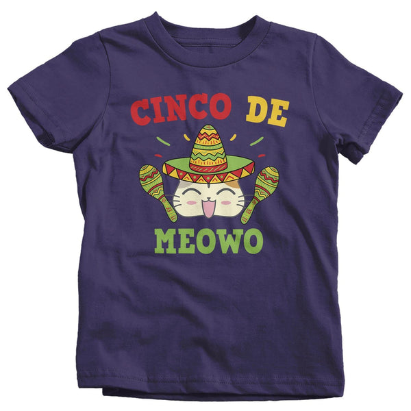 Kids Cinco De Mayo T Shirt Cinco De Meowo Shirt Funny Cinco De Mayo Cat Shirt Meowo Shirt Fun Tee-Shirts By Sarah