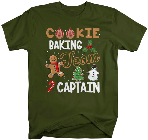 Men's Christmas T Shirt Cookie Baking Team Captain Matching Xmas Shirts Cute Graphic Baker Xmas Tee-Shirts By Sarah