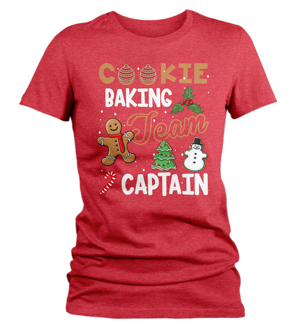 Women's Christmas T Shirt Cookie Baking Team Captain Matching Xmas Shirts Cute Graphic Baker Xmas Tee-Shirts By Sarah