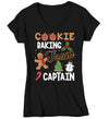 Women's V-Neck Christmas T Shirt Cookie Baking Team Captain Matching Xmas Shirts Cute Graphic Baker Xmas Tee