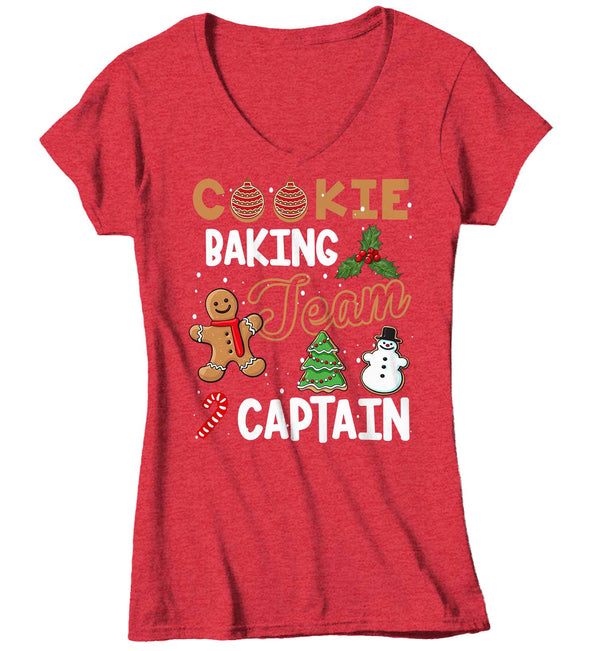 Women's V-Neck Christmas T Shirt Cookie Baking Team Captain Matching Xmas Shirts Cute Graphic Baker Xmas Tee-Shirts By Sarah
