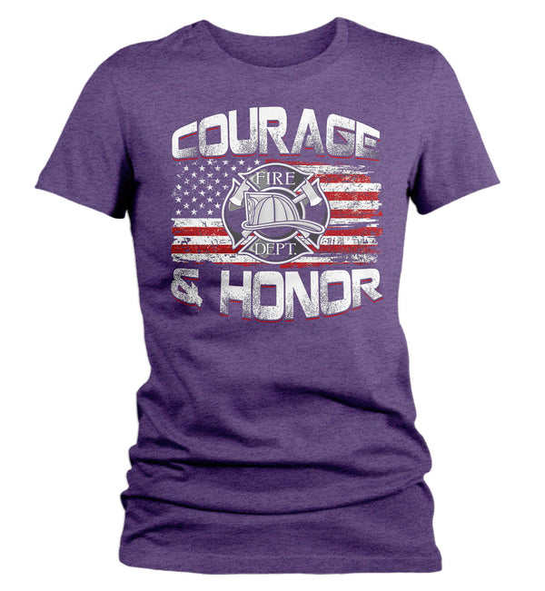 Women's Firefighter Shirt Firefighter Flag T Shirt Fireman Gift Idea Firefighter Gift Courage Honor Tee Ladies V Neck Soft Tee-Shirts By Sarah