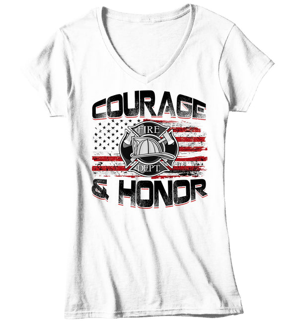 Women's V-Neck Firefighter Shirt Firefighter Flag T Shirt Fireman Gift Idea Firefighter Gift Courage Honor Tee Ladies V Neck Soft Tee-Shirts By Sarah