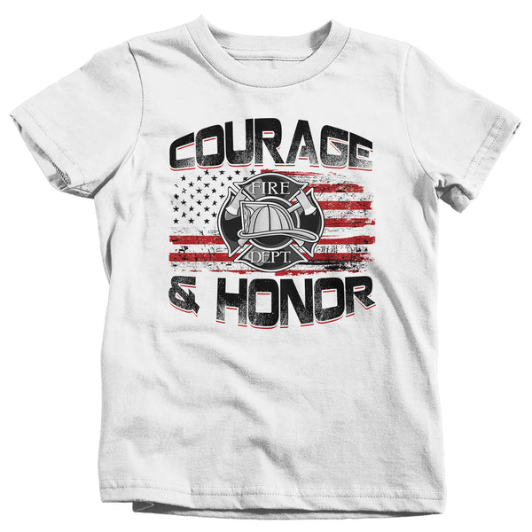 Kids Firefighter Shirt Firefighter Flag T Shirt Fireman Gift Idea Firefighter Gift Courage Honor Tee Boy's Girl's Youth Soft Tee-Shirts By Sarah