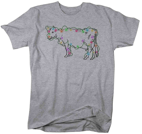 Men's Christmas Lights T Shirt Cow Shirt Christmas Lights Shirts Heifer Shirt Cattle Shirt Farm Christmas Shirt-Shirts By Sarah