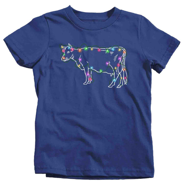 Kids Christmas Lights T Shirt Cow Shirt Christmas Lights Shirts Heifer Shirt Cattle Shirt Farm Christmas ShirtCopy of 000 Kids Copy-Shirts By Sarah