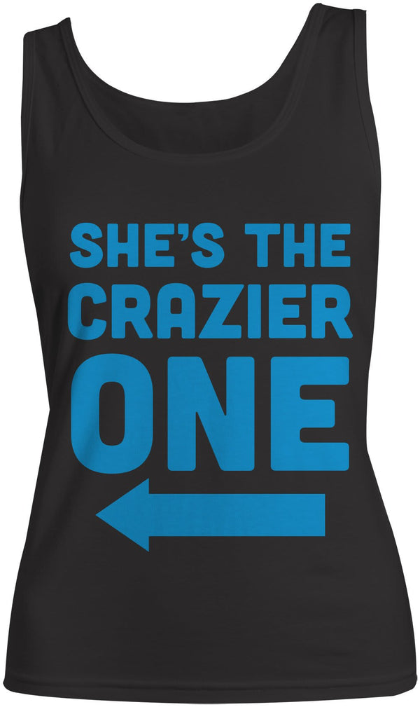 Women's She's The Crazier One Best Friend Cotton Tank Top-Shirts By Sarah