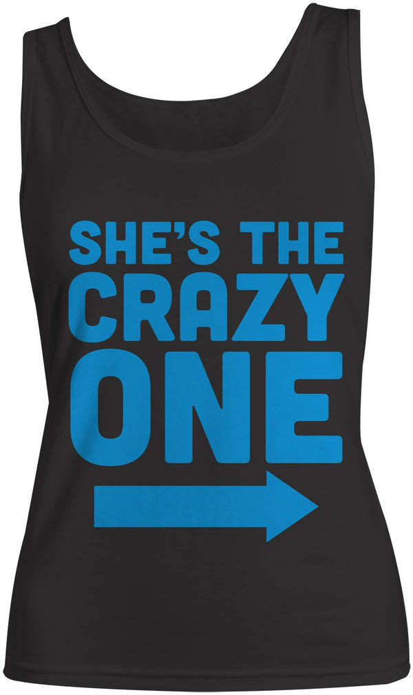 Women's She's The Crazy One Best Friend Cotton Tank Top-Shirts By Sarah