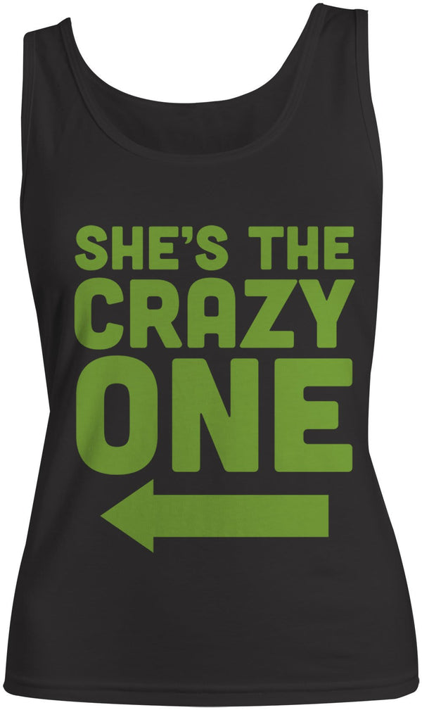 Women's She's The Crazy One Best Friend Cotton Tank Top (Right)-Shirts By Sarah