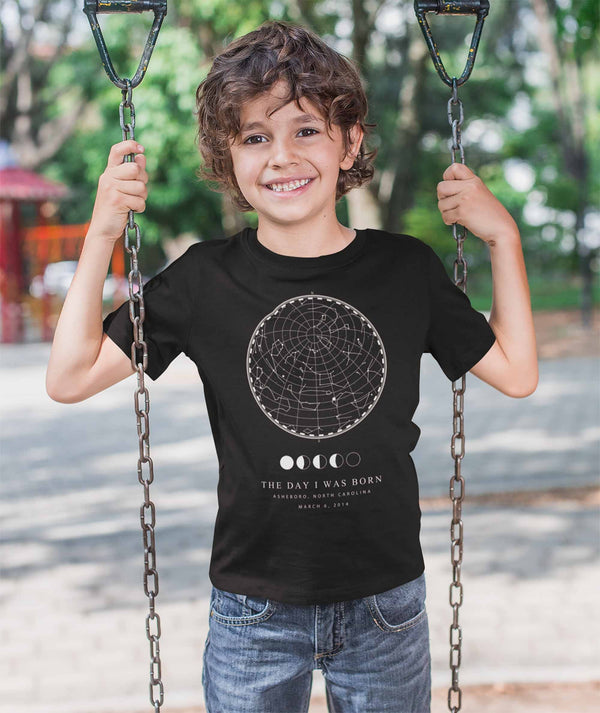 Kids Custom Star Map T Shirt Personalized Shirt Celestial Shirt Birthday Adoption Matching Shirt-Shirts By Sarah