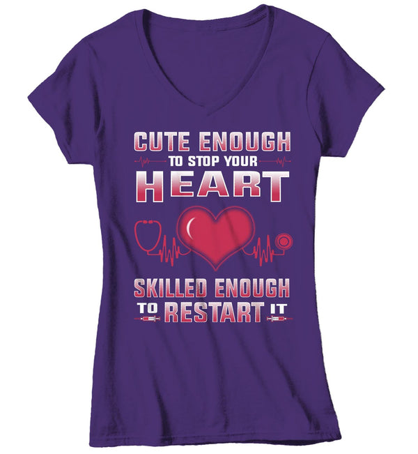 Women's V-Neck Cute Nurse T Shirt Cute Enough Stop Heart Shirt Skilled Enough To Restart It T Shirt Funny Nurse Shirt-Shirts By Sarah