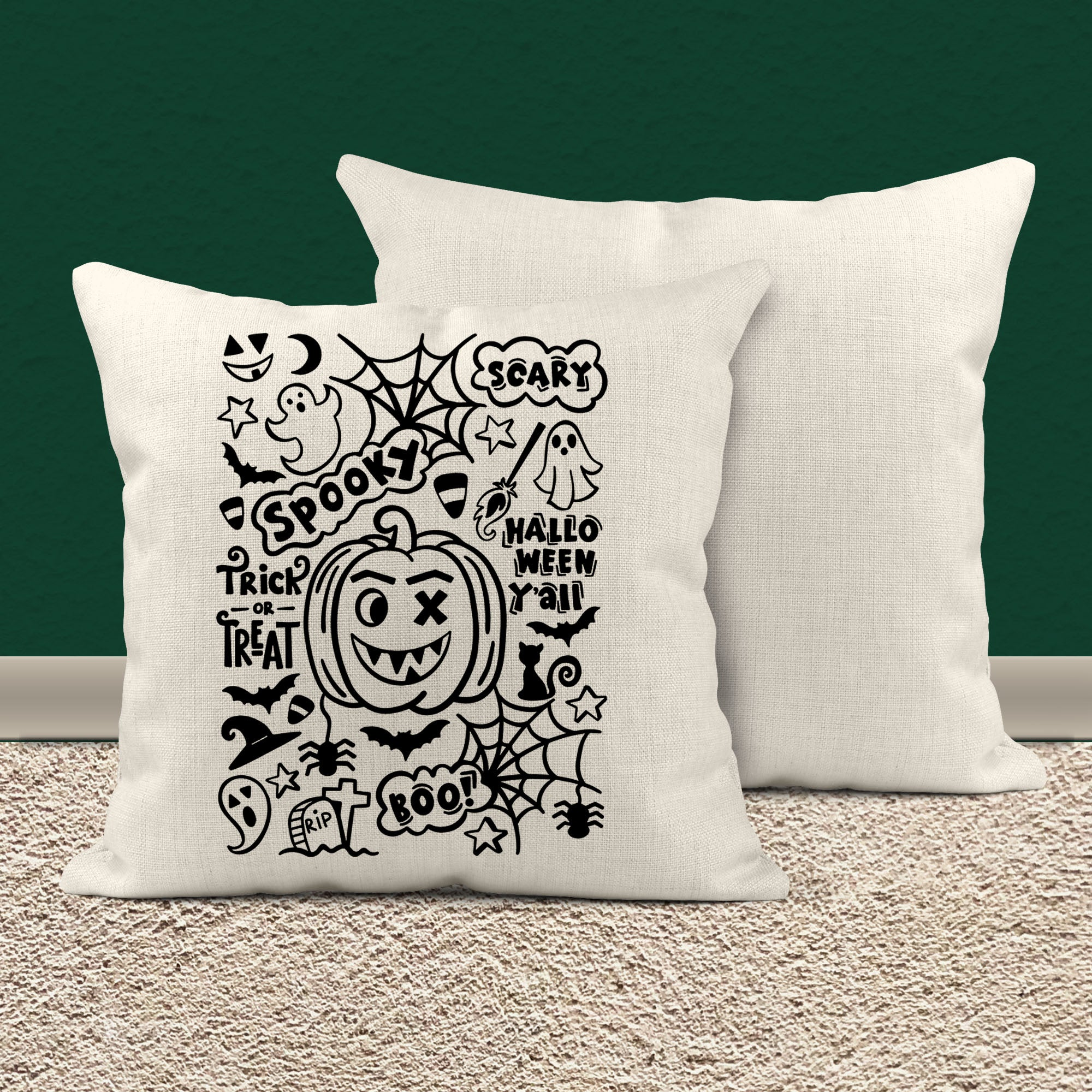 Cute Halloween Pillow Cover Typography Throw Pillow Spooky Halloween D Shirts By Sarah