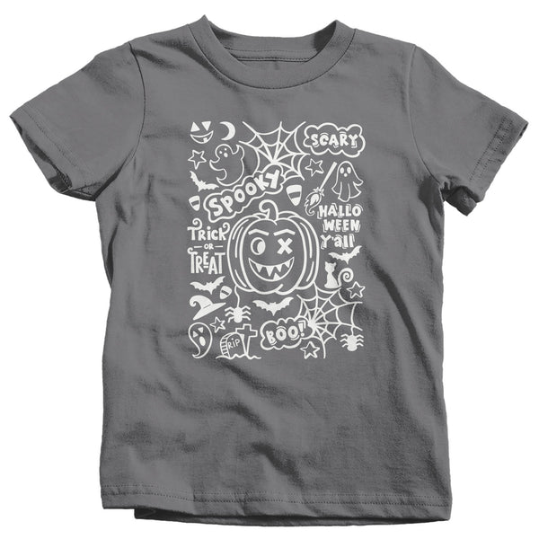 Kids Cute Halloween T Shirt Typography Shirt Spooky Halloween Shirt Wreath Shirt Halloween Tshirt Adorable Halloween Tee-Shirts By Sarah