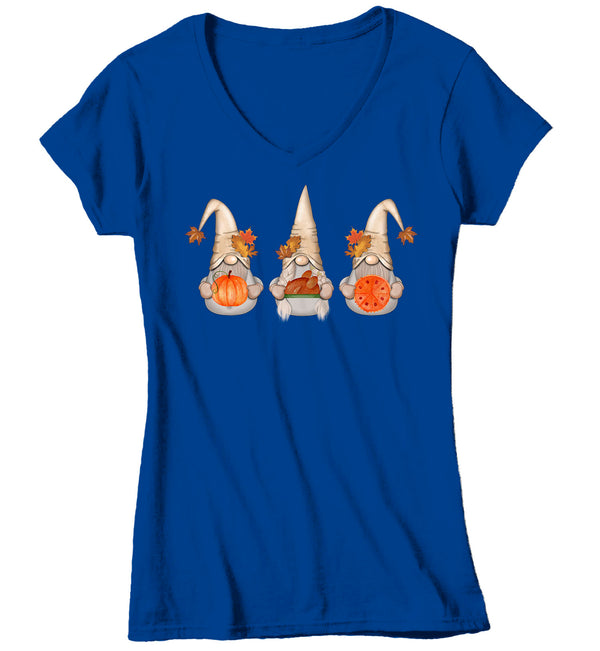 Women's V-Neck Thanksgiving Gnomes T Shirt Cute Gnome Shirt Fall Pumpkin Vintage Fall Tee Boho Cute Pie Tee Turkey Gnome Tshirt-Shirts By Sarah