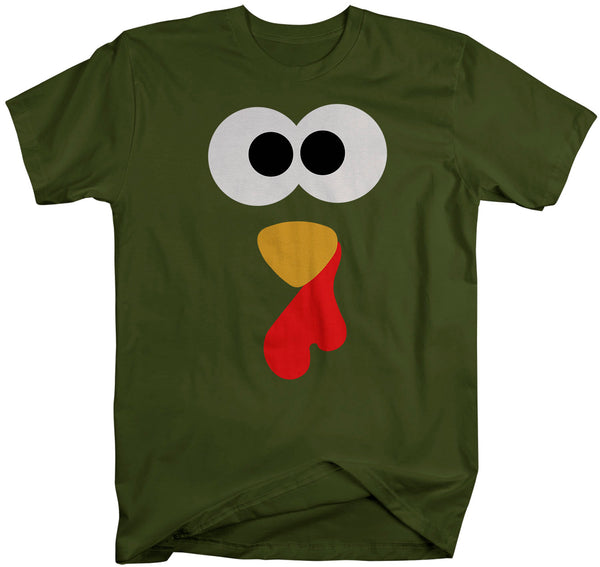 Men's Cute Thanksgiving T Shirt Turkey Shirt Turkey Face Tshirt Cartoon Adorable Thanksgiving T-Shirt-Shirts By Sarah