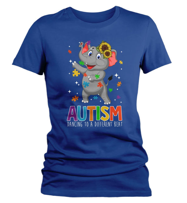 Women's Autism Elephant T Shirt Dancing To Different Beat Autism Shirt Cute Autism T Shirt Autism Awareness Shirt-Shirts By Sarah