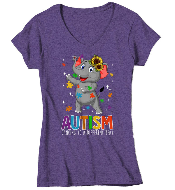 Women's V-Neck Autism Elephant T Shirt Dancing To Different Beat Autism Shirt Cute Autism T Shirt Autism Awareness Shirt-Shirts By Sarah
