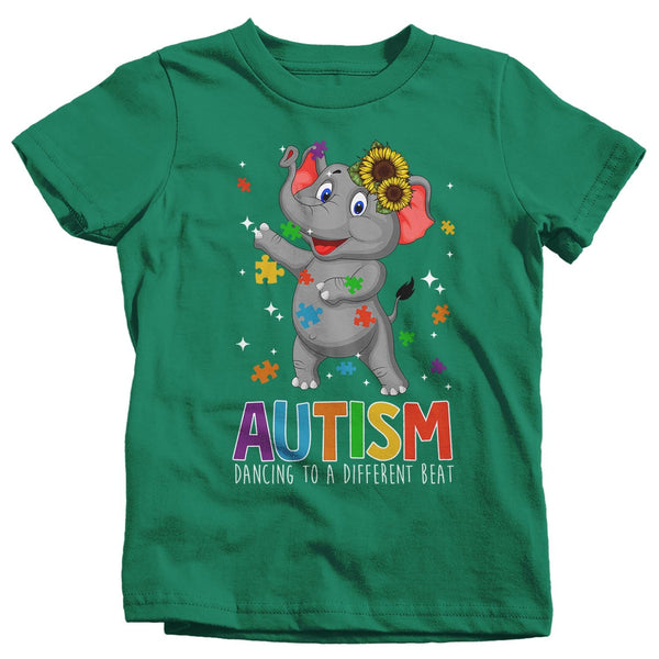 Kids Autism Elephant T Shirt Dancing To Different Beat Autism Shirt Cute Autism T Shirt Autism Awareness Shirt-Shirts By Sarah