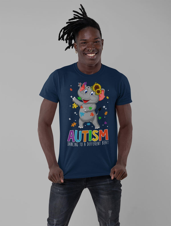 Men's Autism Elephant T Shirt Dancing To Different Beat Autism Shirt Cute Autism T Shirt Autism Awareness Shirt-Shirts By Sarah