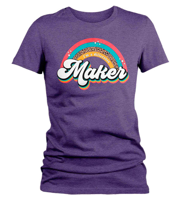 Women's Vintage Teacher Shirt Retro Teacher T Shirt Difference Maker Vintage 60's TShirt Rainbow Tee Ladies V-Neck Soft Cotton Gift Idea-Shirts By Sarah