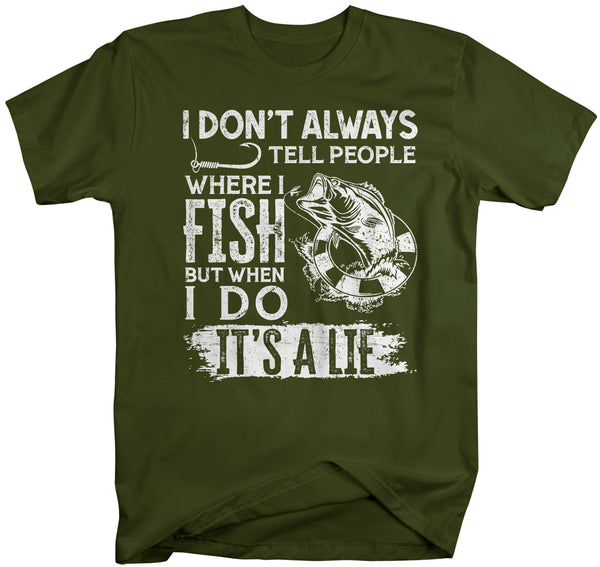 Men's Funny Fishing T Shirt I Don't Always Tell People Shirt Where I Fish Gift Idea But When I Do It's A Lie Man Unisex-Shirts By Sarah