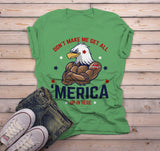 Men's 'Merica T Shirt Eagle Shirt Patriotic Graphic Tee Don't Make Me Get All Merica Hipster Shirts 4th July-Shirts By Sarah