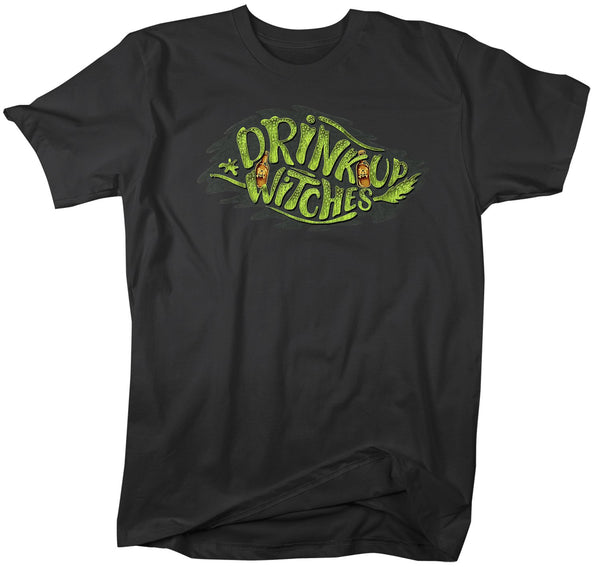 Men's Funny Halloween T Shirt Drink Up Witches Shirt Drink Witches Shirts Fun Halloween Shirts Typography Shirt-Shirts By Sarah