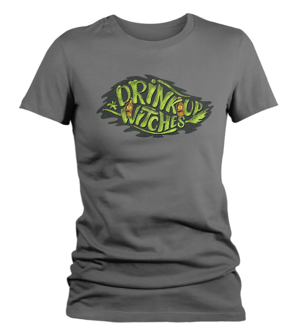 Women's Funny Halloween T Shirt Drink Up Witches Shirt Drink Witches Shirts Fun Halloween Shirts Typography Shirt-Shirts By Sarah
