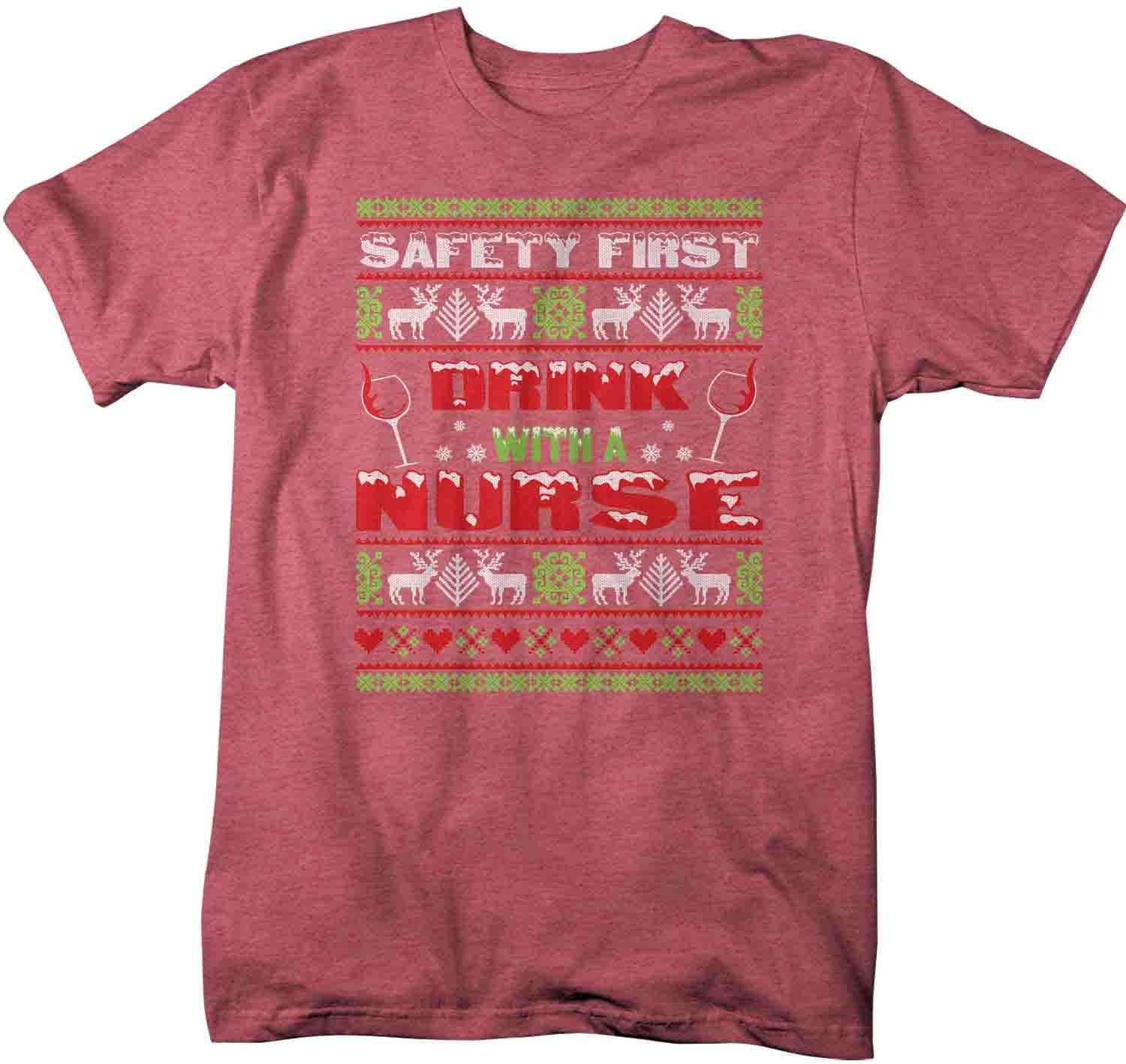 safety first drink with a nurse funny typography mens ladies t shirt mashup