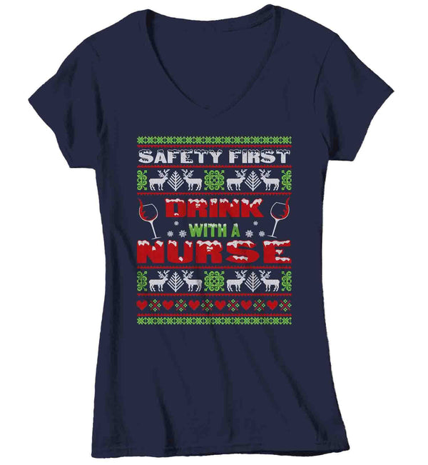 Women's Funny Nurse Christmas T Shirt Ugly Christmas Shirts Safety First Drink With Nurse Shirt Nurses Shirt-Shirts By Sarah