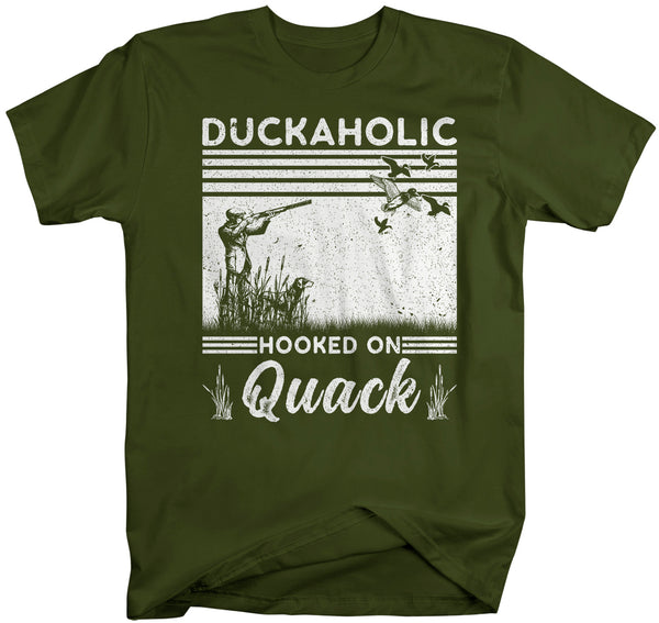 Men's Funny Duck Hunting T Shirt Duckaholic Shirt Duck Hunter Shirt Hooked On Quack T Shirt Shirt Hunting Gift Unisex Man-Shirts By Sarah
