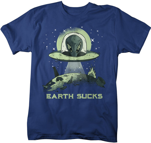 Men's Alien T-Shirt Earth Sucks Shirt Space Shirts Graphic Tee Aliens Celestial Shirts UFO Tshirt-Shirts By Sarah