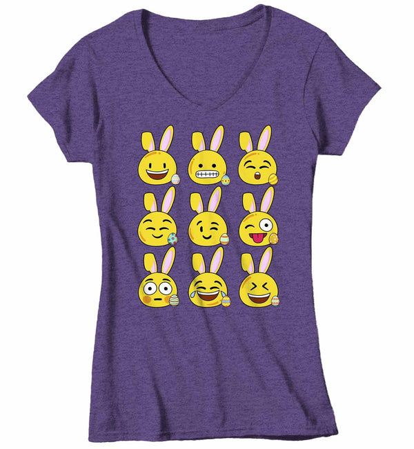 Women's V-Neck Funny Easter T Shirt Easter Emoji Shirt Funny Bunny Easter Shirt Bunny Emoji Shirt Cute Shirt-Shirts By Sarah