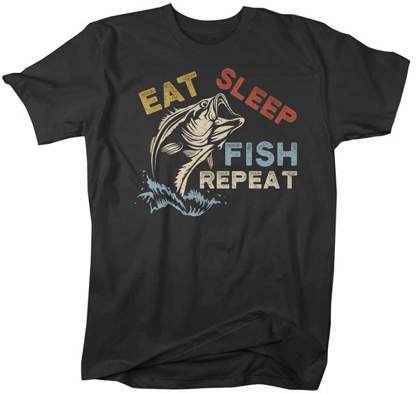 Men's Fishing T Shirt Eat Sleep Fish Repeat Shirt Eat Sleep Fish Shirt Fisherman Shirt Fishing Gift Vintage Fishing Shirt-Shirts By Sarah