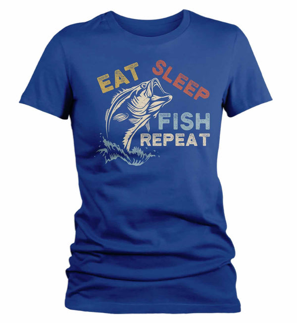 Women's Fishing T Shirt Eat Sleep Fish Repeat Shirt Eat Sleep Fish Shirt Fisherman Shirt Fishing Gift Vintage Fishing Shirt-Shirts By Sarah