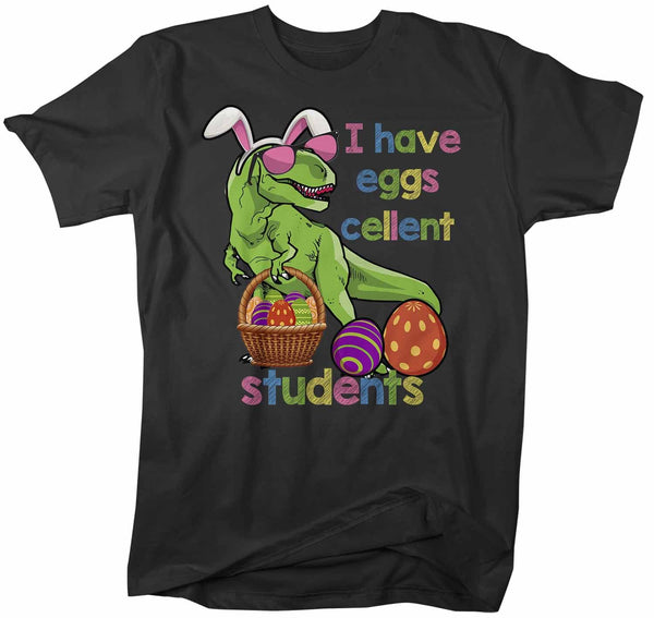 Men's Funny Easter T Shirt Easter Teacher Shirt Funny T Rex Easter Shirt Eggscellent Students Shirt Cute Shirt-Shirts By Sarah