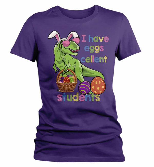 Women's Funny Easter T Shirt Easter Teacher Shirt Funny T Rex Easter Shirt Eggscellent Students Shirt Cute Shirt-Shirts By Sarah