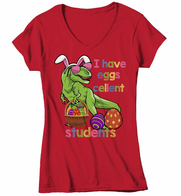 Women's V-Neck Funny Easter T Shirt Easter Teacher Shirt Funny T Rex Easter Shirt Eggscellent Students Shirt Cute Shirt-Shirts By Sarah