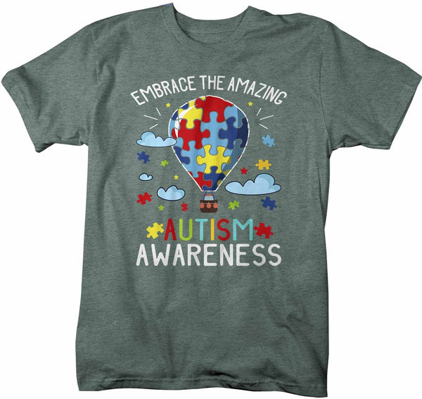 Men's Autism Awareness T Shirt Embrace The Amazing Shirt Hot Air Balloon Shirt Autistic Awareness TShirt-Shirts By Sarah