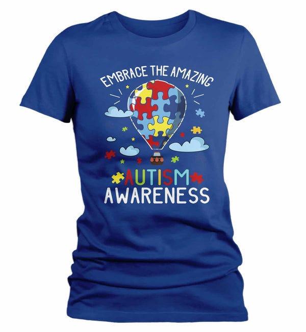 Women's Autism Awareness T Shirt Embrace The Amazing Shirt Hot Air Balloon Shirt Autistic Awareness TShirt-Shirts By Sarah