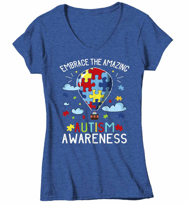 Women's V-Neck Autism Awareness T Shirt Embrace The Amazing Shirt Hot Air Balloon Shirt Autistic Awareness TShirt-Shirts By Sarah