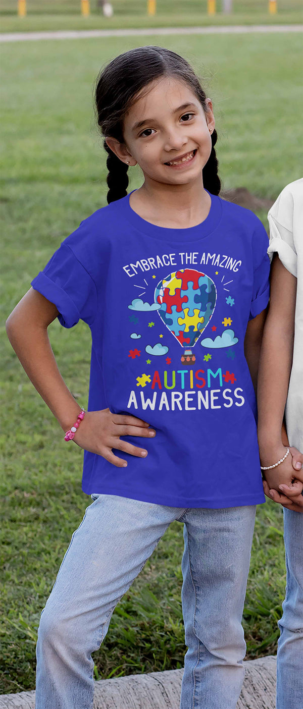 Kids Autism Awareness T Shirt Embrace The Amazing Shirt Hot Air Balloon Shirt Autistic Awareness TShirt-Shirts By Sarah