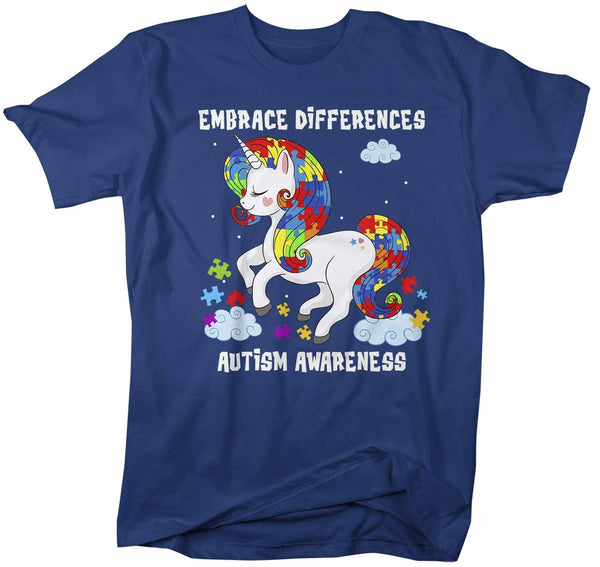 Men's Autism Shirt Embrace Differences Shirt Autism T Shirt Unicorn Shirt Unicorn Autism Shirt-Shirts By Sarah