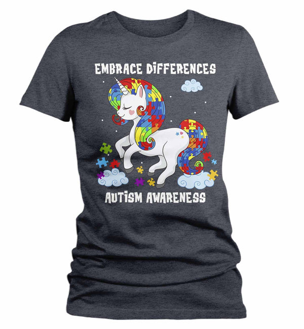 Women's Autism Shirt Embrace Differences Shirt Autism T Shirt Unicorn Shirt Unicorn Autism Shirt-Shirts By Sarah