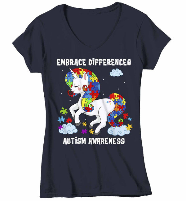 Women's V-Neck Autism Shirt Embrace Differences Shirt Autism T Shirt Unicorn Shirt Unicorn Autism Shirt-Shirts By Sarah