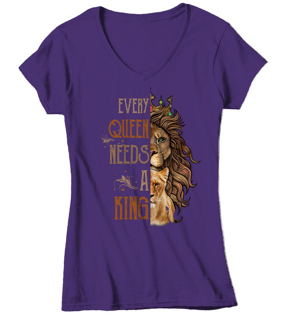 Women's V-Neck Matching Lion T Shirt Couples Shirt Matching Lion Lioness Shirt Queen Shirt Every Queen Needs King Shirt-Shirts By Sarah