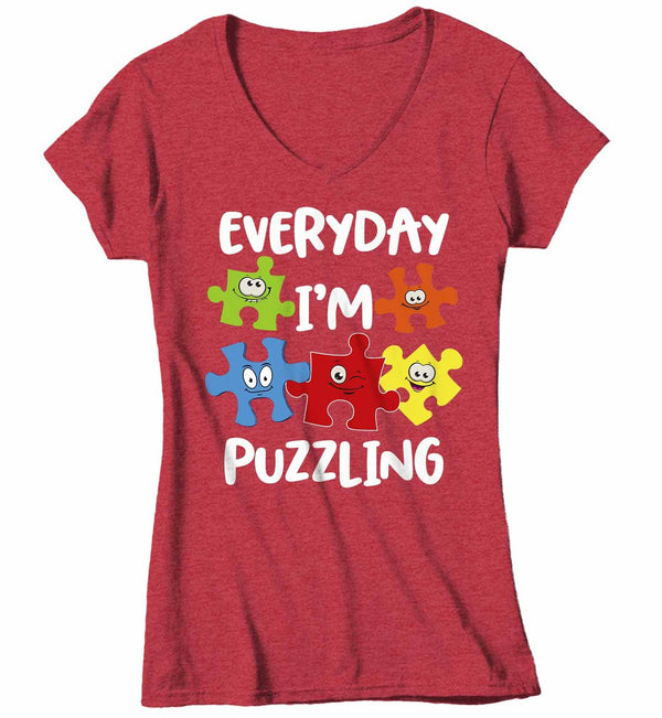 Women's V-Neck Funny Autism Shirt Everyday I'm Puzzling Shirt Autism Shirt Puzzle Shirt Funny Autism T Shirt-Shirts By Sarah